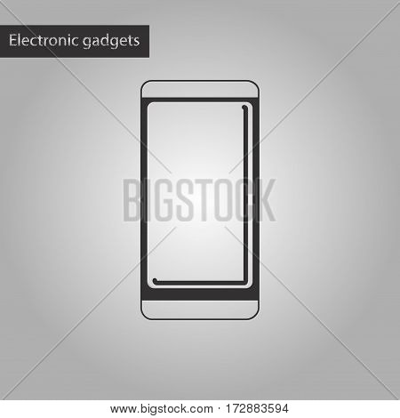 black and white style icon of mobile phone