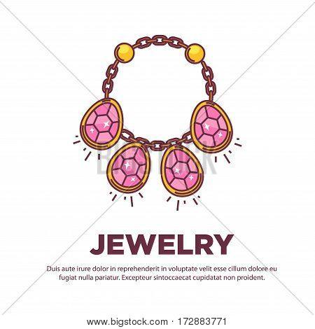Jewelry golden handmade necklace of gems. Vector flat icon of luxury wedding bijouterie collar. Design element for jeweler online shop