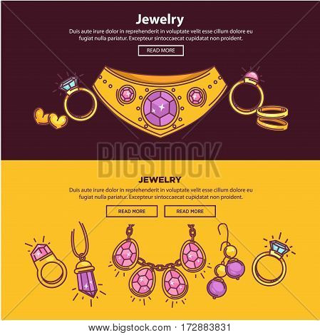Jewelry shop web banners or internet online store landing page flat template design. Vector gems and bijouterie of gold earrings, necklace collar, diamond and golden wedding rings and silver bracelets