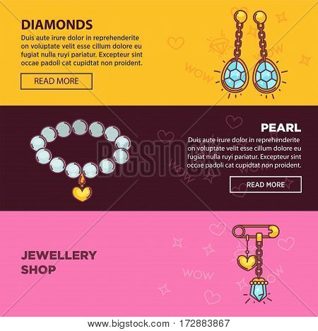 Jewelry shop banners for internet store or landing page template. Vector flat layout design with gems and bijou gold earrings, necklace collar, diamond and golden wedding rings