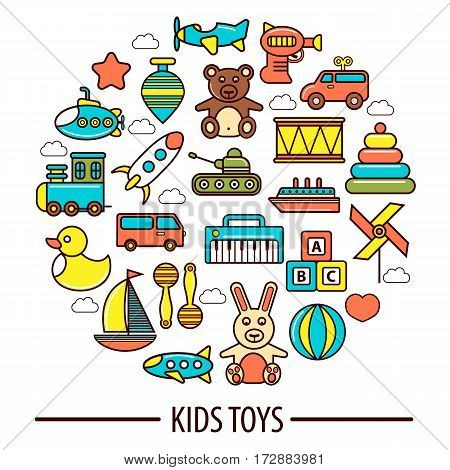 Kid toys poster of children playthings for kindergarten girls and boys. Vector isolated icons set