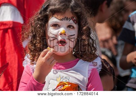 Happy Jewish Girl Celebrate The Purim Holiday At Street Event