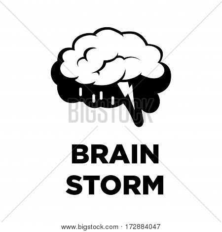 Brain storm creative logo in form of raining cloud ideas and thunderbolt. Smart intelligence thinking concept vector template