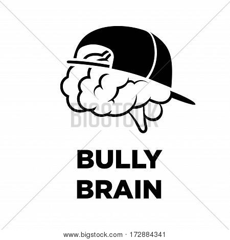 Bully brain in cap creative logo. Smart intelligence power and innovative thinking concept vector template