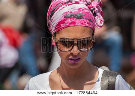 Orthodox Jewish Woman With Sunglasses At City Street