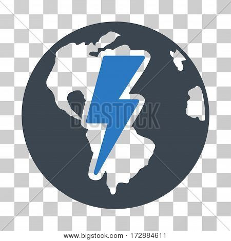 Earth Shock vector icon. Illustration style is flat iconic bicolor smooth blue symbol on a transparent background.