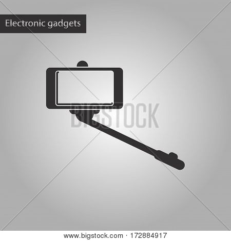black and white style icon of Smartphone selfie stick