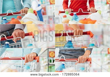 People doing grocery shopping at the supermarket and pushing a shopping cart hands close up