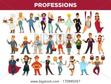 Professionals of different occupations specialists. People workers of education, entertainment, medical service, art and business industry. Vector isolated flat icons set