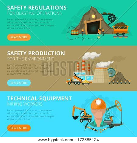 Blast or conventional mining safety regulations 3 flat interactive horizontal banners