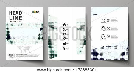 Business templates for brochure, magazine, flyer, booklet or annual report. Cover design template, easy editable vector, abstract flat layout in A4 size. Halftone dotted background, retro style grungy pattern, vintage texture. Halftone effect with black d