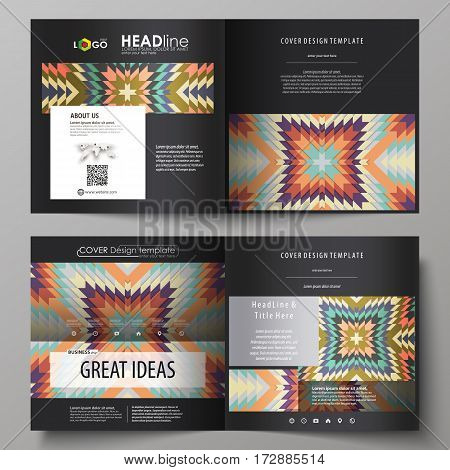 Business templates for square design bi fold brochure, magazine, flyer, booklet or annual report. Leaflet cover, abstract flat layout, easy editable vector. Tribal pattern, geometrical ornament in ethno syle, ethnic hipster backdrop, vintage fashion backg