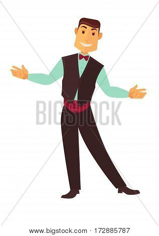 Croupier man or dealer of casino poker gambling in suit jacket and bow tie. Vector flat isolated icon