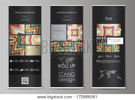 Set of roll up banner stands, flat design templates, abstract geometric style, modern business concept, corporate vertical vector flyers, flag layouts. Tribal pattern, geometrical ornament in ethno syle, ethnic hipster backdrop, vintage fashion background
