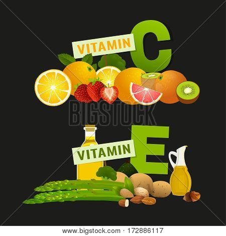 Vitamin C and Vitamin E vector illustration. Foods containing ascorbic acid and tocopherol with letters. Source of vitamins, fresh fruits, greens, nuts and vegetables.