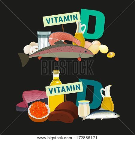Ergocalciferol in food. Top foods rich with antirachitic vitamin D. Beautiful vector illustration with different products and a letter on a dark background.