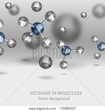 Scientific backdrop with Methane molecules in 3D style. CH4 vector illustrations isolated on a light background. Chemical, educational and popular-scientific concept.
