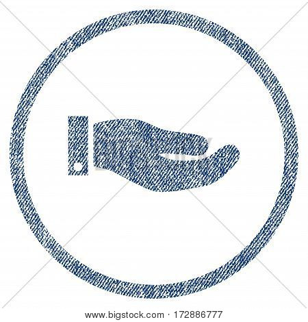 Hand vector textured icon for overlay watermark stamps. Blue jeans fabric vectorized texture. Symbol with dust design. Blue ink rubber seal stamp with fiber textile structure.