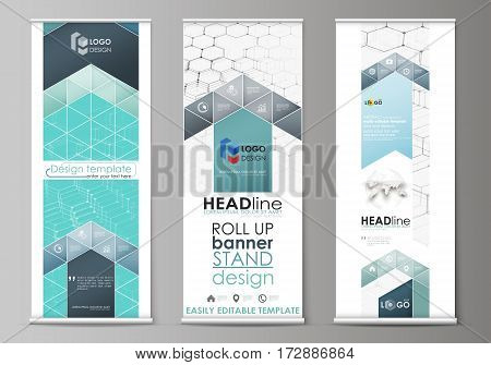 Set of roll up banner stands, flat design templates, abstract geometric style, modern business concept, corporate vertical vector flyers, flag layouts. Chemistry pattern, hexagonal molecule structure on blue. Medicine, science and technology concept.