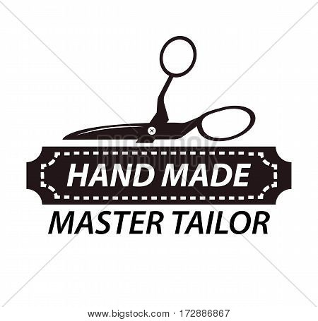 Hand made master tailor logotype design with scissors. Workshop company logo isolated on white background. Emblem in black and white colors. Handicraft shop sign vector illustration in flat style