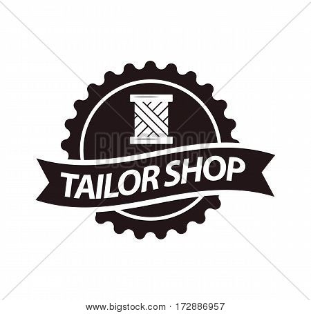 Tailor shop or dressmaker atelier or fashion dress designer salon vector logo template. Round isolated icon of sewing thread stitch and cloth ribbon