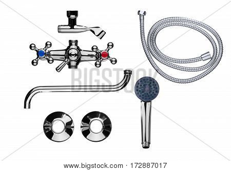 Set of parts for a bathroom faucet isolated on a white background.