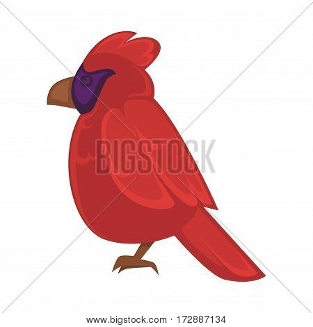 Big exotic red bird with violet face and brown beak isolated on white. Side view of parrot that can fly vector illustration. Standing isolated bird icon with dark red feather in flat design.