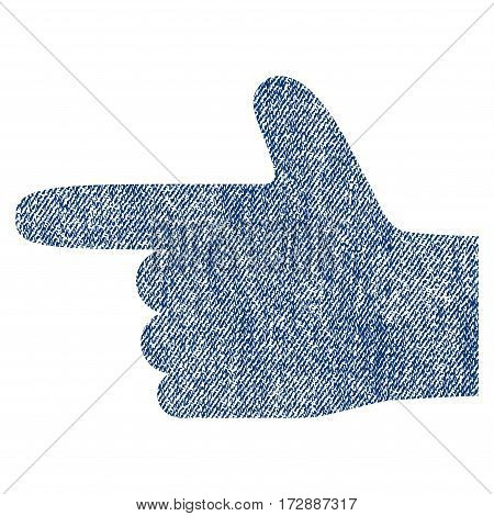 Hand Pointer Left vector textured icon for overlay watermark stamps. Blue jeans fabric vectorized texture. Symbol with dust design. Blue ink rubber seal stamp with fiber textile structure.