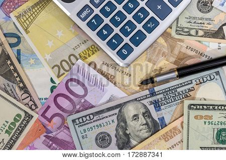 Finance Concept - Euro Vs Dollar With Calculator.