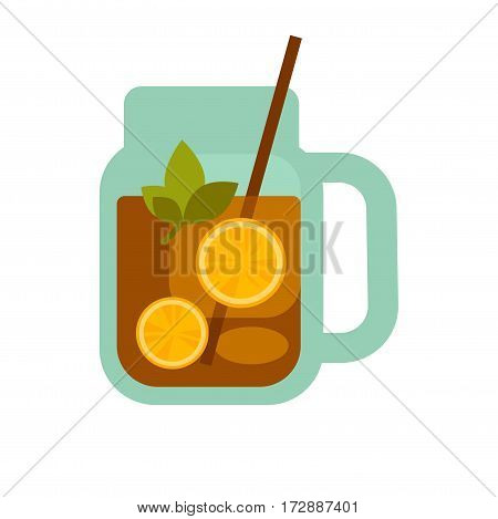 Glass mug of tea with lemons and herbs, straw in cup isolated on white. Vector illustration in flat design of non alcoholic beverage in transparent teapot. Tea time template logotype in flat style