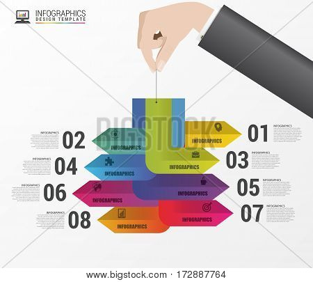 Infographic design with hand. Modern business template. Vector illustration