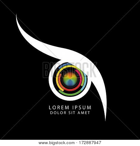 Abstract owl eye concept with camera symbol. Vector illustration