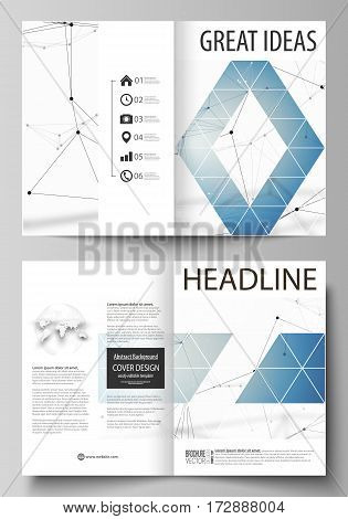 Business templates for bi fold brochure, magazine, flyer, booklet or annual report. Cover design template, easy editable vector, abstract flat layout in A4 size. Geometric blue color background, molecule structure, science concept. Connected lines and dot