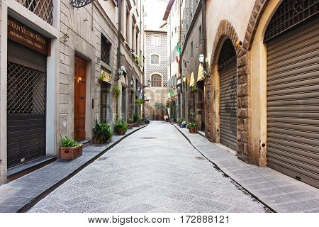 FLORENCE ITALY - FEBRUARY 06 2017:Old medieval beautiful street in Firenze
