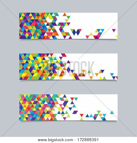 Set of Banners with Triangular Texture for Business. Templates with Colorful Triangles for Text Message Flyers Cards.