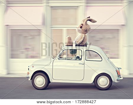 woman rushes in a car with bunny toy on roof. 3d rendering