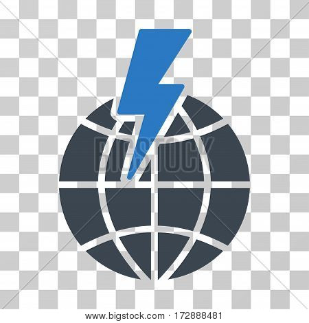 Global Shock vector pictograph. Illustration style is flat iconic bicolor smooth blue symbol on a transparent background.