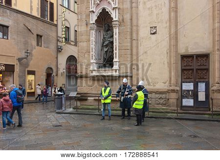 FLORENCE ITALY - FEBRUARY 06 2017: Police and Carabinieri in the streets in Firenze after the rain
