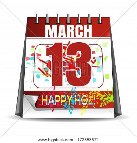 Happy Holi - 2017. Holiday date in the calendar. March 13. Annual Hindu festival of color and spring. Vector illustration