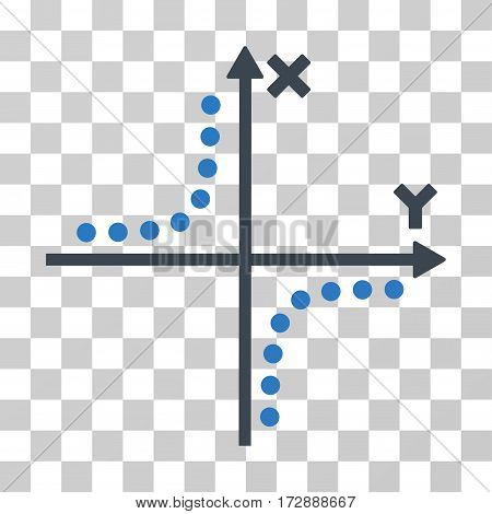 Hyperbola Plot vector pictogram. Illustration style is flat iconic bicolor smooth blue symbol on a transparent background.