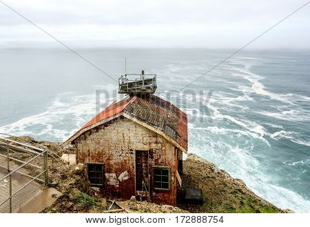 Rusty cabin at Point Reyes, Pacific coast, California, USA