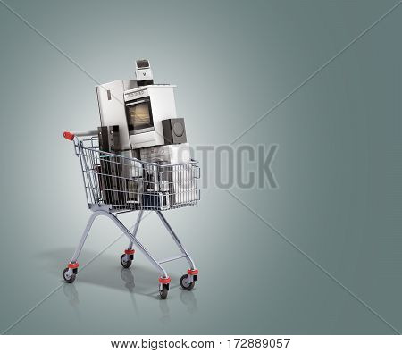 Home Appliances In The Shopping Cart E-commerce Or Online Shopping Concept 3D Render On Grey