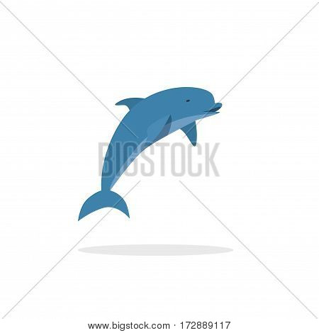 Dolphin vector illustration, flat style jumping happy dolphin isolated on white background