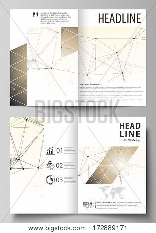 Business templates for bi fold brochure, magazine, flyer, booklet or annual report. Cover design template, easy editable vector, abstract flat layout in A4 size. Technology, science, medical concept. Golden dots and lines, cybernetic digital style. Lines