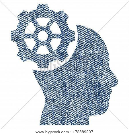 Head Gear vector textured icon for overlay watermark stamps. Blue jeans fabric vectorized texture. Symbol with dust design. Blue ink rubber seal stamp with fiber textile structure.