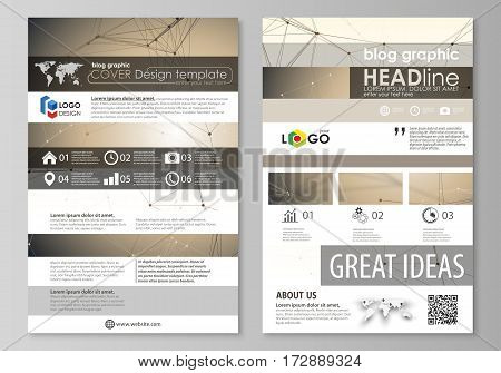 Blog graphic business templates. Page website design template, easy editable abstract vector layout. Technology, science, medical concept. Golden dots and lines, cybernetic digital style. Lines plexus.