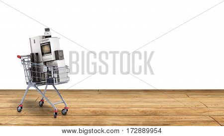 Home Appliances In The Shopping Cart E-commerce Or Online Shopping Concept Background 3D Render