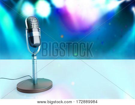 Vintage Silver Microphone Wood Karaoke Background 3D Illustration