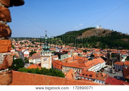 The view of Mikulov city from the castle with tilt-shift effect, Czech Republic.