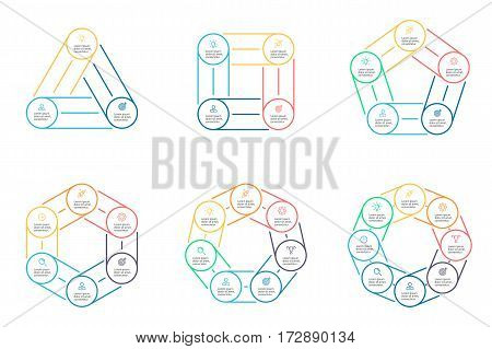 Outline pie charts with 3 - 8 steps, sections. Vector templates.